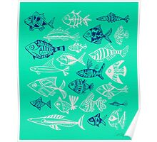 Inked Fish on Turquoise Poster