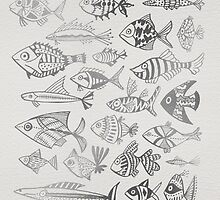 Silver Inked Fish by Cat Coquillette