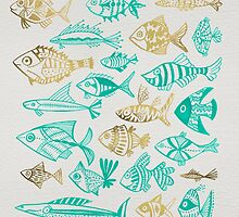 Gold & Turquoise Inked Fish by Cat Coquillette