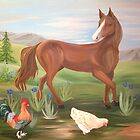 Horse and Hens by Lynn Wright