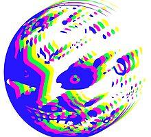Neon Majora's mask moon  by Ravendoop