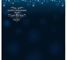 Happy Holidays and Happy New Year deep blue background for postcard poster template by Anton Oparin