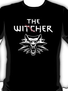 The Witcher Wolf Symbol and text white T-Shirt