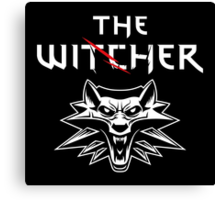 The Witcher Wolf Symbol and text white Canvas Print