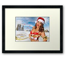 Sexy Santa's Helper girl great image for creating Holiday Greeting postcards or computer wallpapers Framed Print