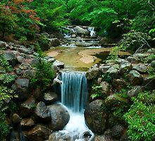 Waterfall, Miyajima, Japan by John Kung