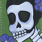 Dia de los Muertos Skeleton Flower in Blue by natashablue