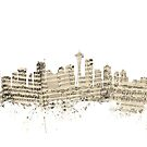 Seattle Washington Skyline Sheet Music Cityscape by Michael Tompsett