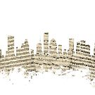 Houston Texas Skyline Sheet Music Cityscape by Michael Tompsett