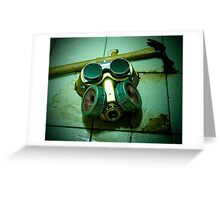 Dark Steampunk Gas Mask and Goggles Greeting Card