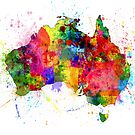Australia Paint Splashes Map by Michael Tompsett