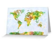 Map of the World Watercolour Greeting Card