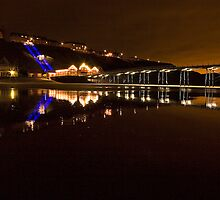 Saltburn Pier Night Reflections by Stewart Laker