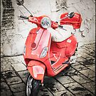 Red Vespa with texture added by Manfred Belau