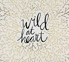 Wild at Heart – Gold Branches on White by Cat Coquillette