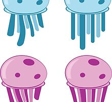 Cute cartoon blue and pink jellyfishes 2 by AnnArtshock
