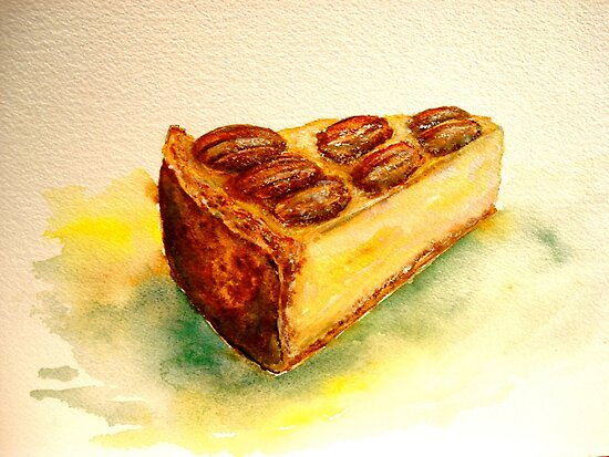 Delicious...A Slice of New York Cheesecake with Candied Pecans by ©Janis Zroback