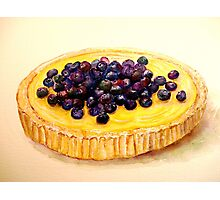 Delicious ..Lemon Curd and Blueberry Tart Photographic Print