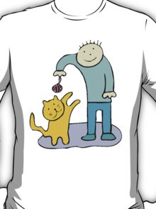 Boy Playing With Cat T-Shirt