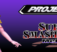 Zelda with Melee and Project M logos Sticker