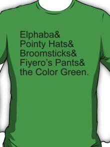 Elphaba's Favorite Things, Black T-Shirt