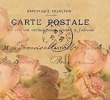 French Postcard with Roses in Peach and Ecru by Carla Parris