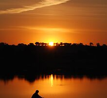 Sunset over Lake Albert by elyglen