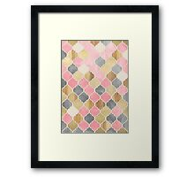 Silver Grey, Soft Pink, Wood & Gold Moroccan Pattern Framed Print