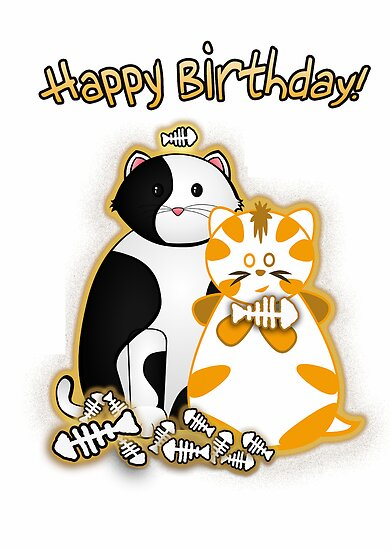 Basil and Frazzle Happy Birthday Card by © Karin  Taylor