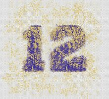 Abstract Twelve Paint Splatter - Purple On Gold by EmeraldRaindrop