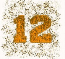 Abstract Twelve Paint Splatter - Orange On Brown by EmeraldRaindrop