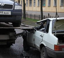 accident with a car tow truck by mrivserg