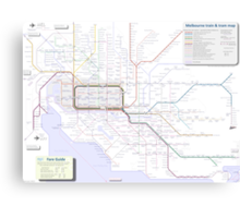 Melbourne train and tram map Canvas Print