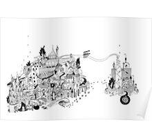 Traumstadt mit Überbrückung / city of dreams with bridge Poster