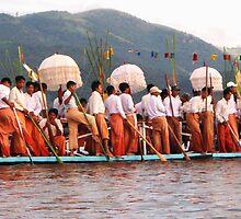 Burma Long Boat by angelamalt