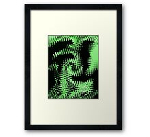 Digital Wave Green and Black Wild Abstract Design Framed Print