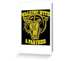 Walking with a panther tattoo design Greeting Card