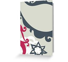 Oriental Persian Paisley - Blue Pink White Gray  Greeting Card