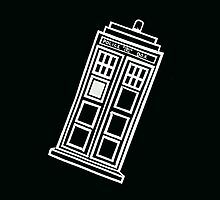 Black and white TARDIS (tilted) by lotifer