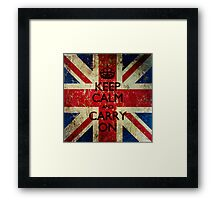 Square Grunge Keep Calm and Carry On Union Jack Framed Print