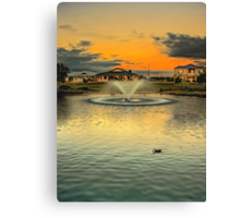 The suburban fountain at sunset Canvas Print