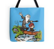Gandalf and Bilbo Calvin and Hobbes Tote Bag