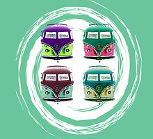 Pop Kombi Aqua Card by KellieBee