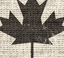 Old Canada Flag Burlap Linen Rustic Jute Sticker