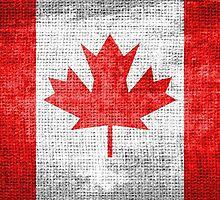 Vintage Canada Flag on Burlap Linen Rustic Jute by Nhan Ngo
