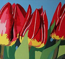 Red & Yellow Tulips by Marjolein