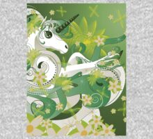 White spring unicorn with flowers and floral Kids Clothes