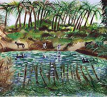 Donkeys drinking from the Jordan river by orna