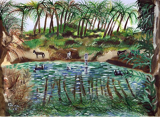 Donkeys drinking from the Jordan river by orna