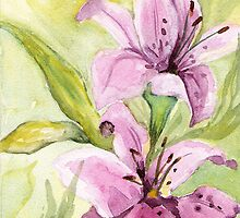"Watercolor Painting ""Illusive Lilies I"" by  Artist Marsha Woods by Marsha Woods"